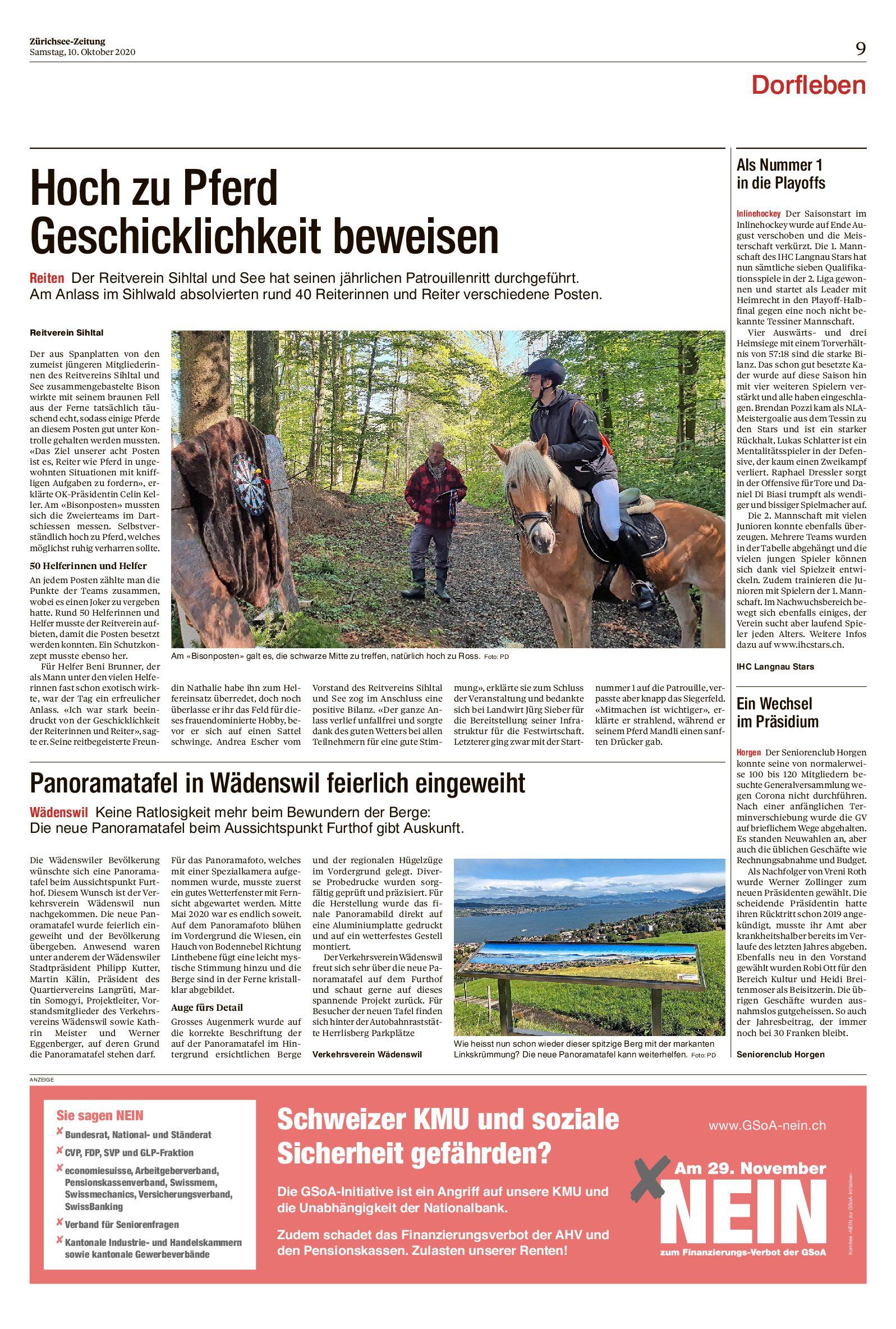 Reitverein Sihltal und See in der Zürichsee-Zeitung